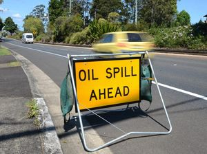 TRAFFIC HAZARD: Council clearing major oil spill