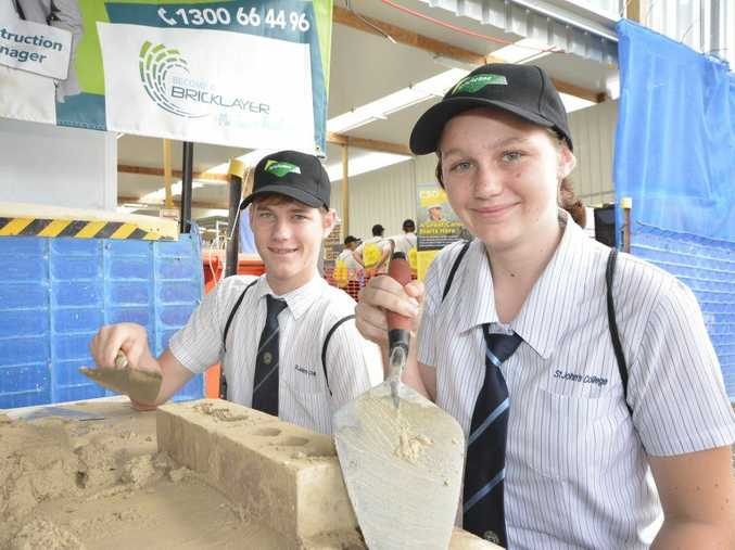 St John's College students try their hand at bricklaying