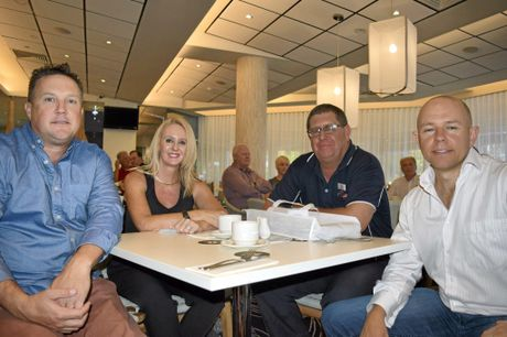 Andy Riches of Tweed Fitness Club, Deana McClimtock of The Conveyancing Leaders, John Bancroft of Westpac Life Saver Rescue Helicopter and business advisor Jamie Cunningham, at the Tweed Business Chamber breakfast, October 13, 2015.