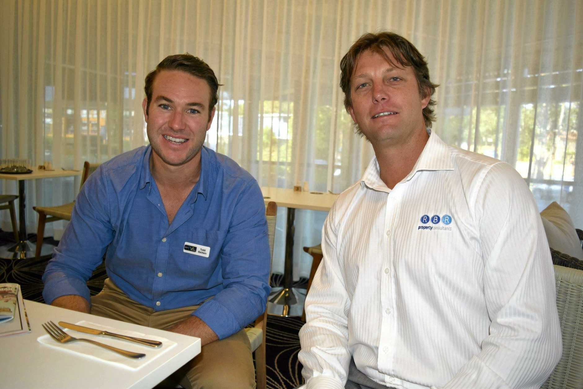 Todd Baldwin of the Northern Rivers NSW Business Chamber and Lenny McLennan of Rainbow Bay Realty at the Tweed Business Chamber breakfast, October 13, 2015.