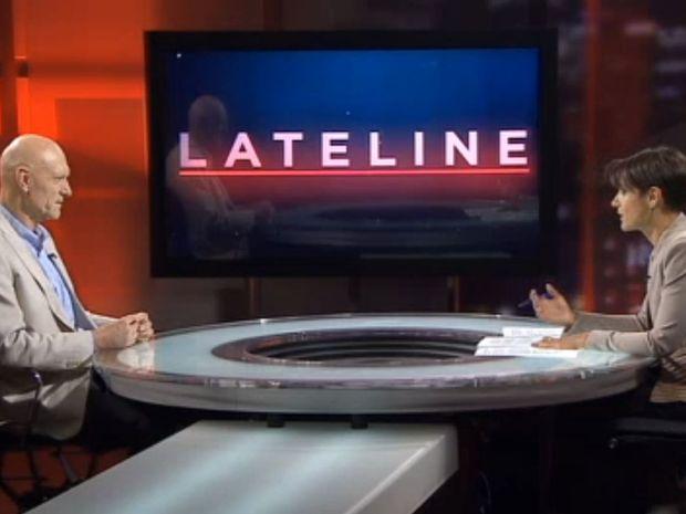 A still from Peter Garrett's appearance on Lateline, October 13, 2015.
