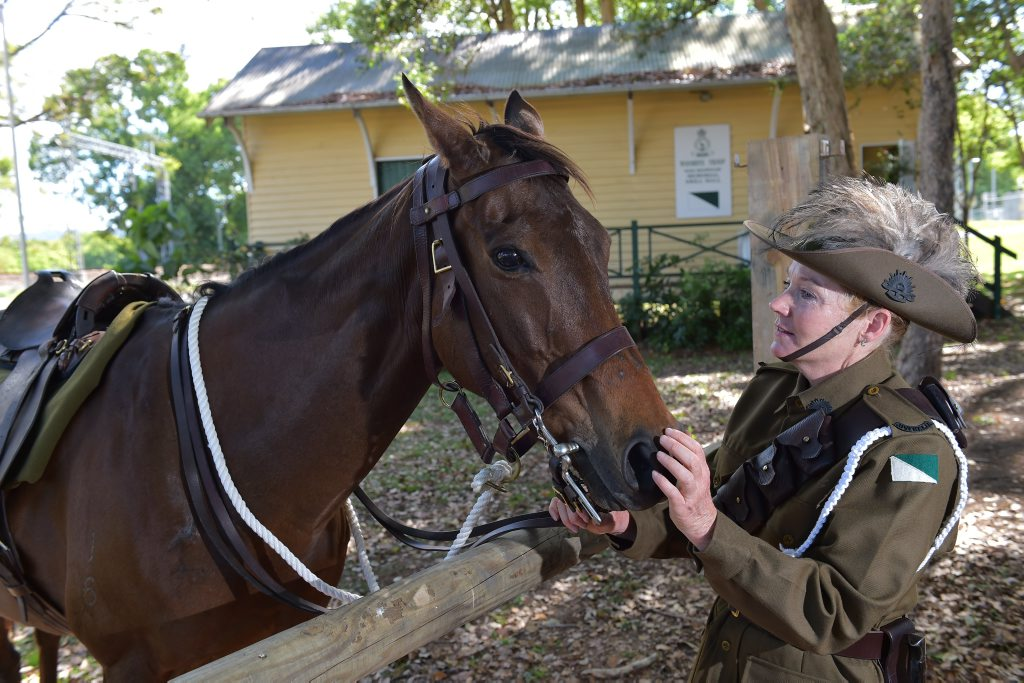 Suzie Borwell from Woombye's second light horse regiment with her horse, Ashanti, prepares for Beersheba Day celebrations that will take place in Woombye on November 2. Photo: Brett Wortman / Sunshine Coast Daily