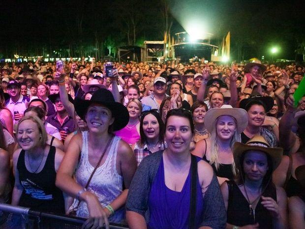The crowd at CMC Rocks QLD 2015 on Saturday night.