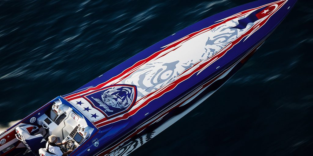The Sultan's powerboat, which will be pulled by the Mack truck. Photo Contributed