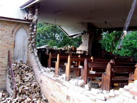 Damage sustained at St Matthews Anglican Church in Dunoon during a tornado in 2007. Photo Andy Parks / The Northern Star