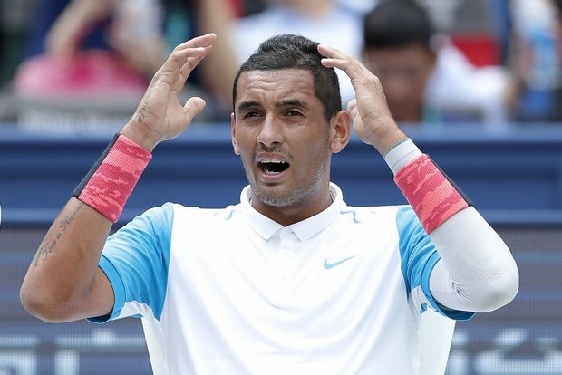 SHANGHAI, CHINA - OCTOBER 14: Nick Kyrgios of Australia reacts during against Kei Nishikori of Japan during their men's singles second round match on day 4 of Shanghai Rolex Masters at Qi Zhong Tennis Centre on October 14, 2015 in Shanghai, China. (Photo by Lintao Zhang/Getty Images)