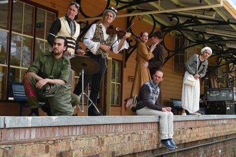Jo Turner and Helen Christinson, Demetrios Sirilas, Phillip Blackman and Katia Molino with Shenton Gregory and Greg Sheehan will all appear in this year's Norpa production Railway Wonderland. Photo Marc Stapelberg / The Northern Star
