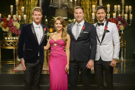 The Bachelorette Sam Frost with the show's finalists, from left, Richie, Sasha and Michael.