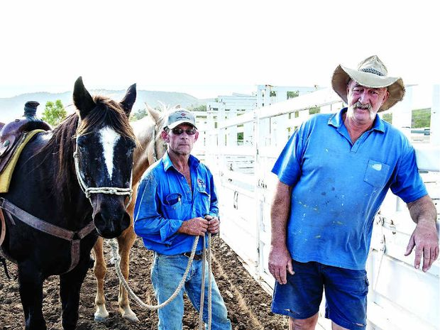 RODEO READY: CRCA's Dale Bougoure and A Mile in Their Shoes president Jack Lumby ahead of this weekend's Proserpine Lions Rodeo for Suicide Prevention.