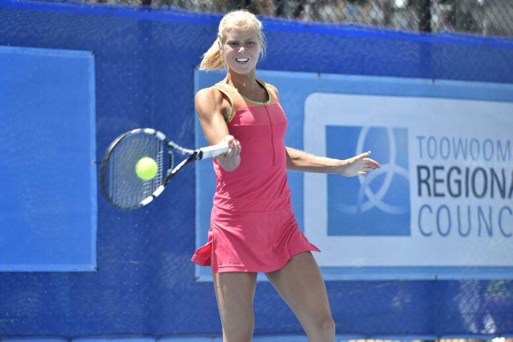 Ellen Allgurin, from Sweden is the Hutchinson Builders Toowoomba International tennis 2014 women's final winner.