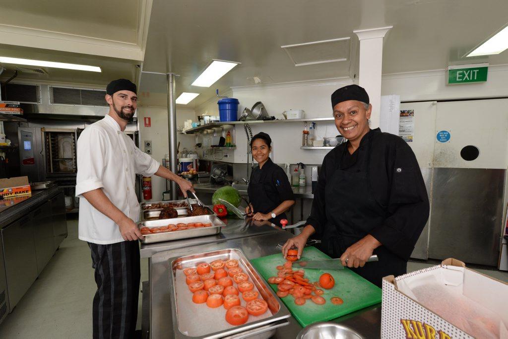 Souths Leagues Club head chef Ryan Hawkins, chef Marie Kittel and Sous Chef Leesa Manaway.