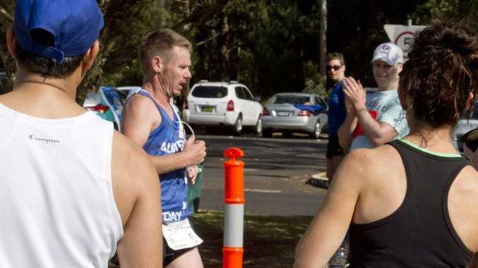 Matt Macdonald completes his victory in last Sunday's Toowoomba Roger Guard Memorial Marathon at USQ.