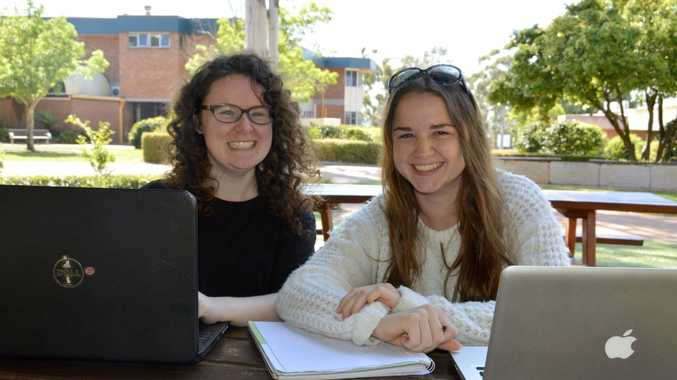 Set to kick off the Storyelling project, aimed at collating Toowoomba stories, are Ciara Condren (left) and Evie Ruz.Photo Megan Masters / The Chronicle