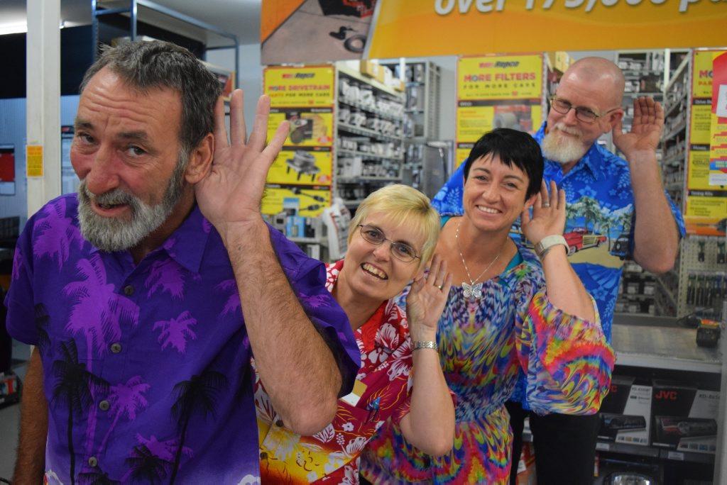 Garry Henry, Paula Lawrence, Deb Weinert and Matt Taylor jump on board the Loud Shirt Day, at Repco Mackay.