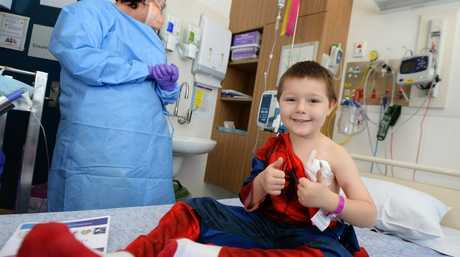 Ben Jessen, 5, completing his last round of Chemotherapy at the Rockhampton Hospital.