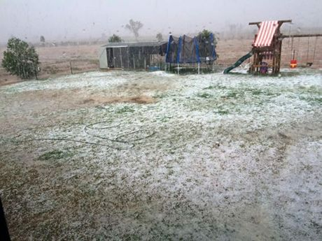Rickie Kelly took this photo of hail that fell about 7km out of Charleville yesterday.