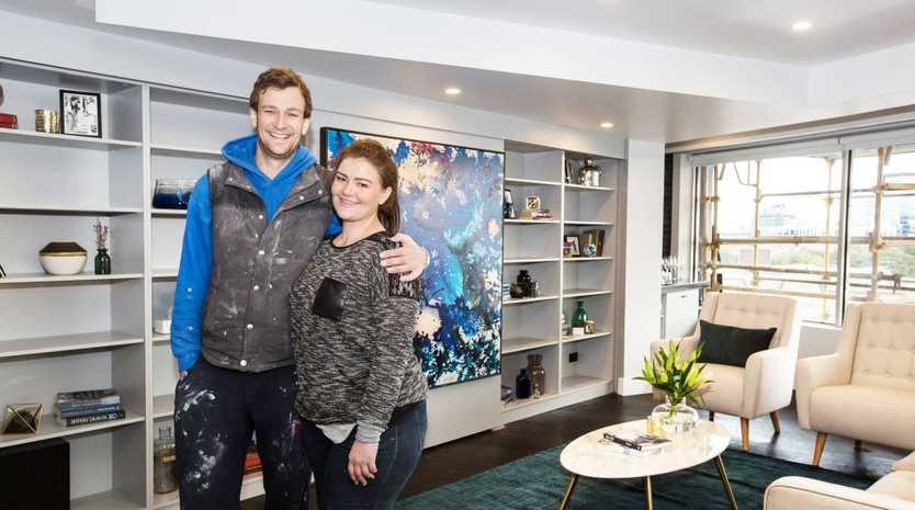 The Block's Luke and Ebony in their winning living room.