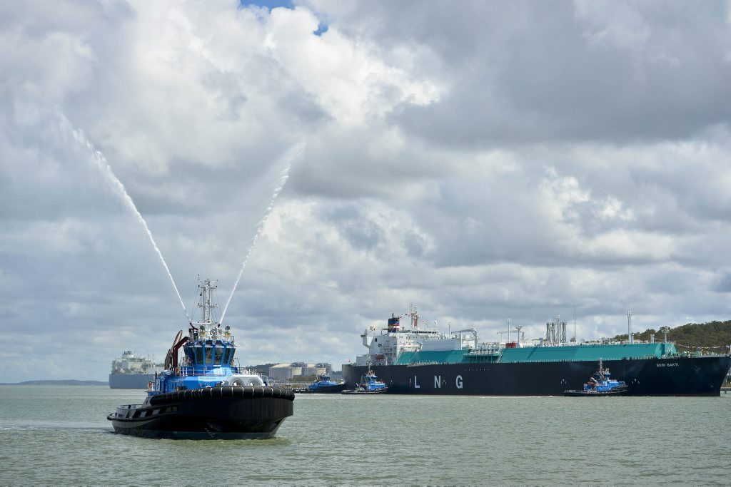 Santos GLNG's first shipment of LNG leaves Curtis Island bound for Korea after years of construction. Photo Paul Braven / The Observer