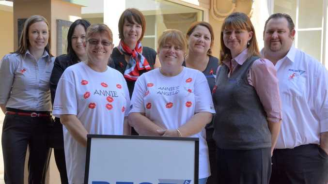 Doing their bit to help Annie's Angels team members (front) Annie Whatley, Jeannie Healy and Liz Ford are (from left) Bonnie Trask, Tamara Robinson, Rebecca May, Belinda Fenton and Dan McQueen. Photo Megan Masters / The Chronicle