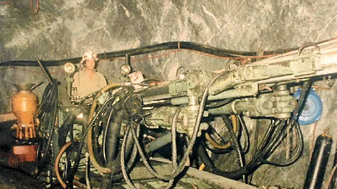 BOOM TIMES: An underground drill rig goes to work under Gympie with the resurgence of gold mining in the late 80s and early 90s.