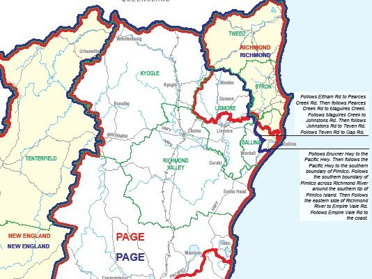 THE seats of Page and Richmond have new boundaries for residents in Nimbin and Ballina