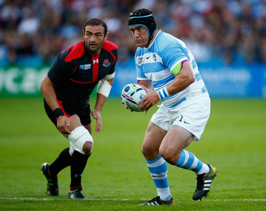 GLOUCESTER, ENGLAND - SEPTEMBER 25: Marcos Ayerza of Argentina in action during the 2015 Rugby World Cup Pool C match between Argentina and Georgia at Kingsholm Stadium on September 25, 2015 in Gloucester, United Kingdom. (Photo by Laurence Griffiths/Getty Images)