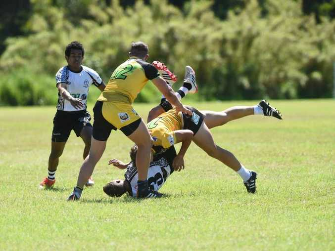 Brisbane Fiji Wilisoni Tilagucaguci during the Byron Bay Union 7's Rugby Tournament at the Byron Recreation ground. Photo Marc Stapelberg / The Northern Star