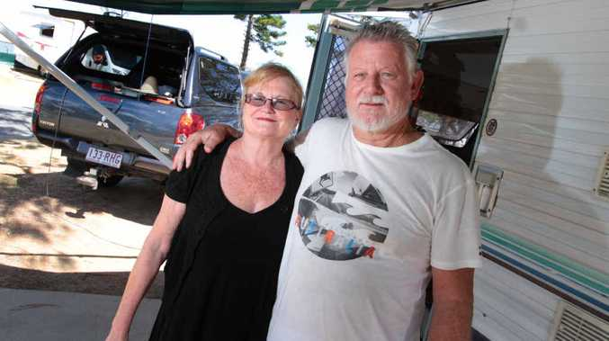 STOPPING IN: Caravanners Lillian and Chris Cook enjoy the sea air and sunshine at Beachside Caravan Park in Yeppoon.