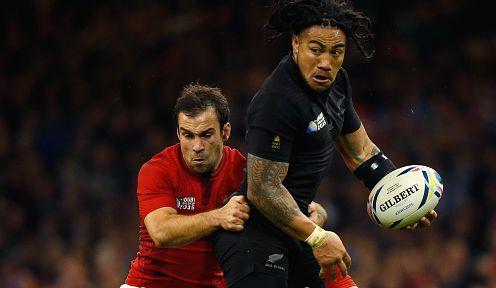 Ma'a Nonu of the New Zealand All Blacks offloads out of the tackle at Millennium Stadium  in Cardiff, United Kingdom. (Photo by Laurence Griffiths/Getty Images)