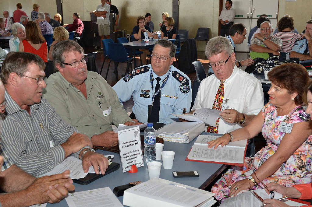 OPEN DISCUSSION: Police Minister Jo-Ann Miller (right) and Commissioner Ian Stewart take questions at the Civic Centre Community Cabinet yesterday.