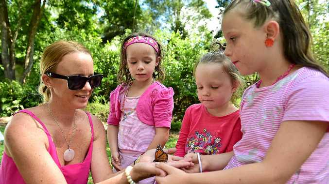 SWEET MEMORIES: Krystal, Jayda, 5, Lilly, 3 and Chloe McEwen, 7, release a butterfly During the SANDS Sunshine Coast Walk to Remember at Maroochy Bushland Botanic Garden.