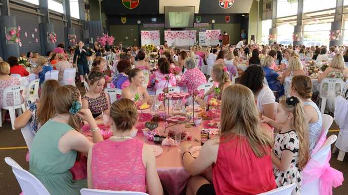GREAT ATMOSPHERE: Guests at the St Luke's pink ribbon day afternoon tea. Photo: Mike Knott / NewsMail