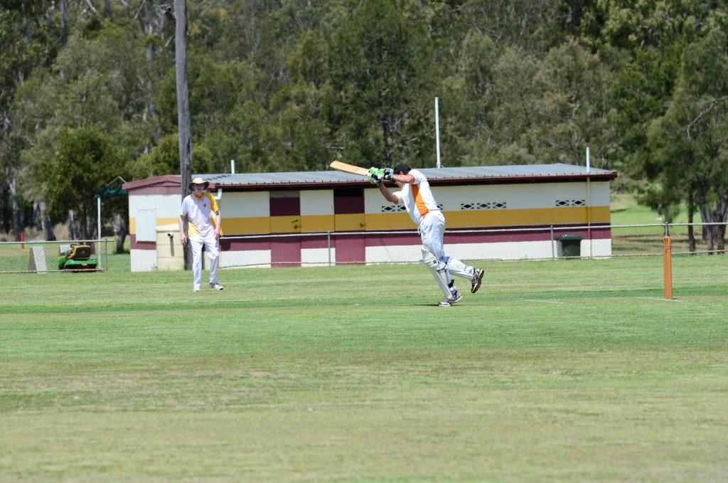 Services' Wayne Kelly plays a drive towards the boundary. Photo Keagan Elder / South Burnett Times