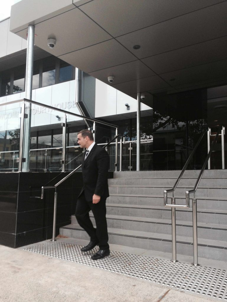 Police forensic scientist Sergeant Ashley Huth leaves the Toowoomba Courthouse after giving evidence in the Ian Phillip Hannaford murder trial.