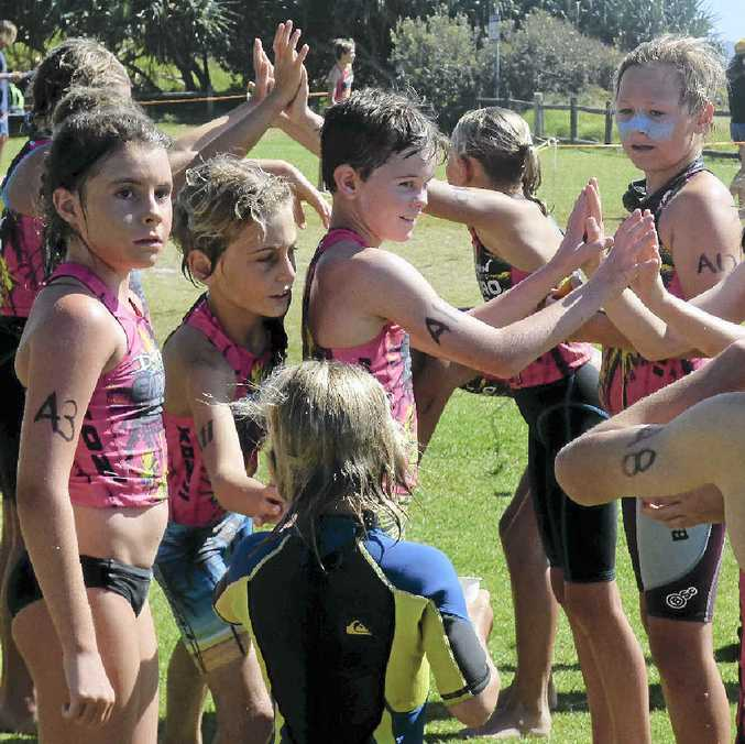 WE DID IT! The under-11 competitors celebrate after finishing the Lennox Head Dolphin Enduro race at the weekend.