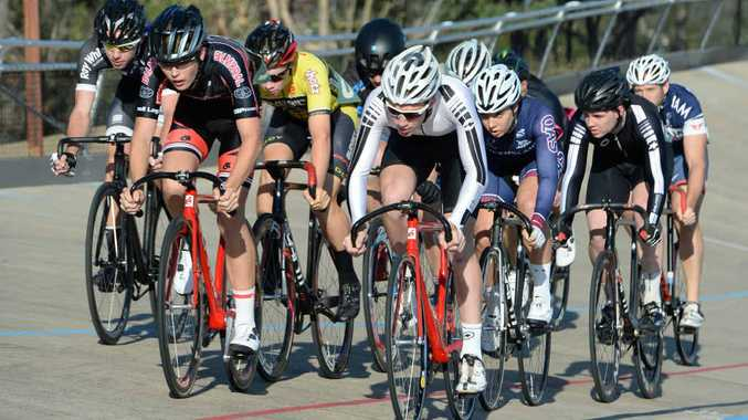 TIGHT BUNCH: A large pack of riders contested the A Grade Keirin, won by Rockhampton Cycling Club's Bailey Goltz.