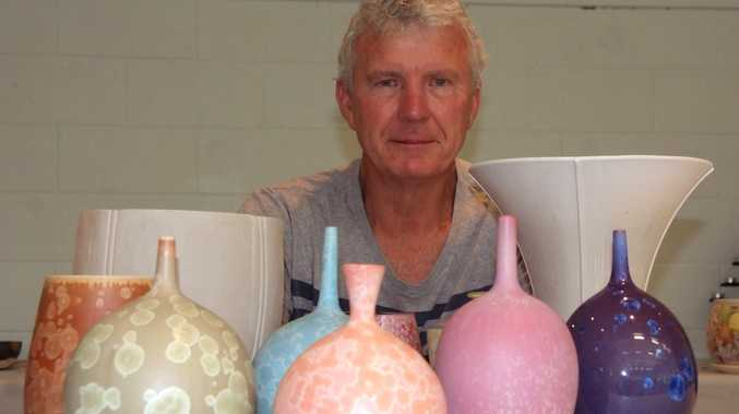 COLOUR IN CLAY: Ted Secombe, one of the guest tutors, with some of his artworks at the Suncoast Clayworkers' biennial convention.
