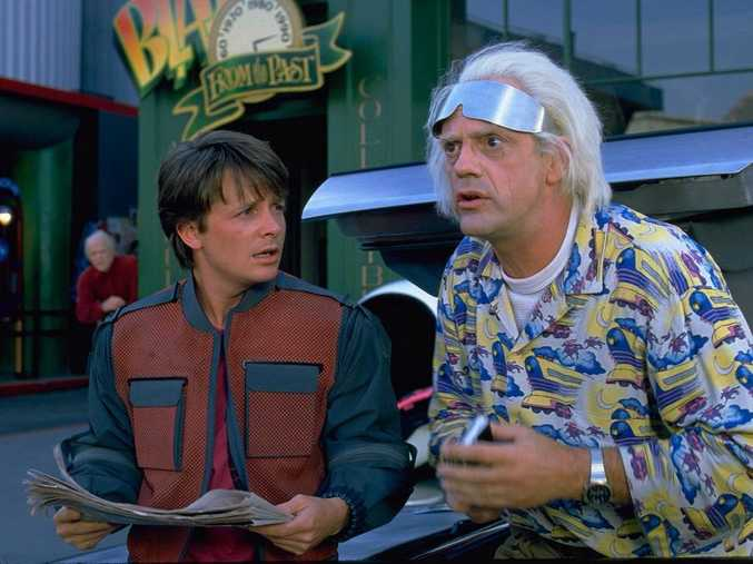 Michael J Fox and Christopher Lloyd in a scene from Back to the Future Part II.