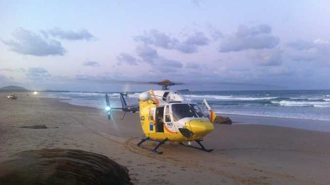 It's believed the man had been walking along rocks before he slipped and fell from a height of around three metres.