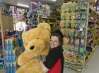 Mr Toys Toyworld manager Jenny Wise gives a giant teddy a cuddle in the renovated Toowoomba store in the Bernoth Centre.