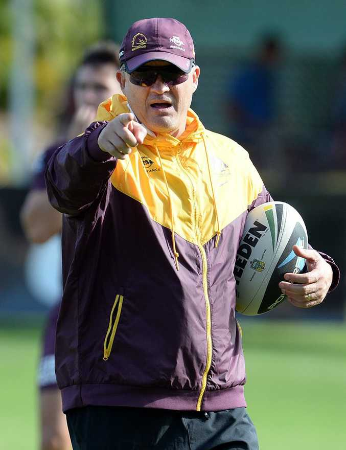 Brisbane Broncos coach Anthony Griffin directs players during training in Brisbane, Thursday, May 8, 2014. The Broncos will meet the North Queensland Cowboys in Townsville on Friday for their round 9 clash. (AAP Image/Dan Peled) NO ARCHIVING