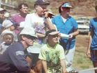 Looking back, a young Troy Hart gets shown how to use the hose at the Mt Isa Mines Fire Station in October 1991.