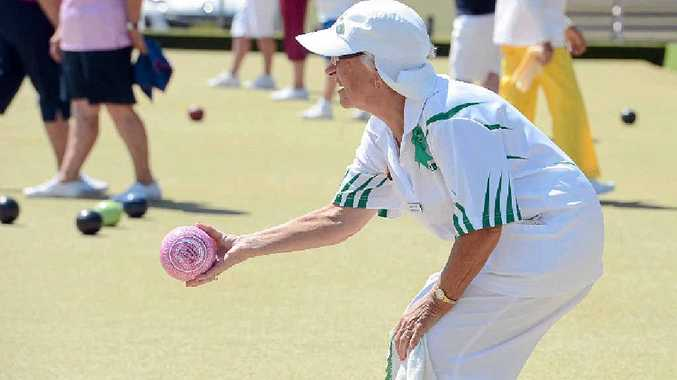 RIGHT: Marlene McDonald bowling in the recent Northern Rivers Women's District Bowls Carnival at the East Lismore Bowling Club.