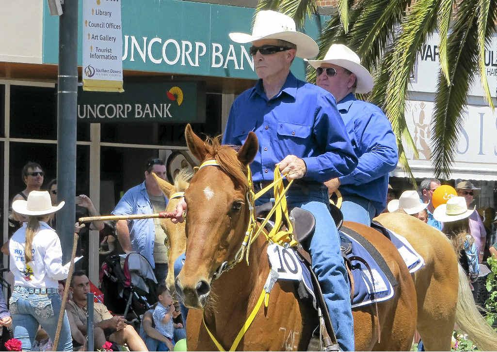 FINE DISPLAY: Taking part in last year's street parade are Kent Saddlery RASQ Outback Riders members Konrad Beer (left) and Trevor Fowke.