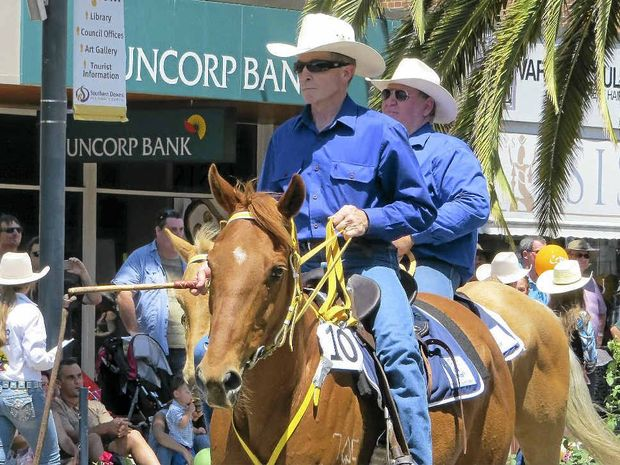 FINE DISPLAY: Taking part in last year's street parade are Kent Saddlery RASQ Outback Riders members Konrad Beer (left) and Trevor Fowke.