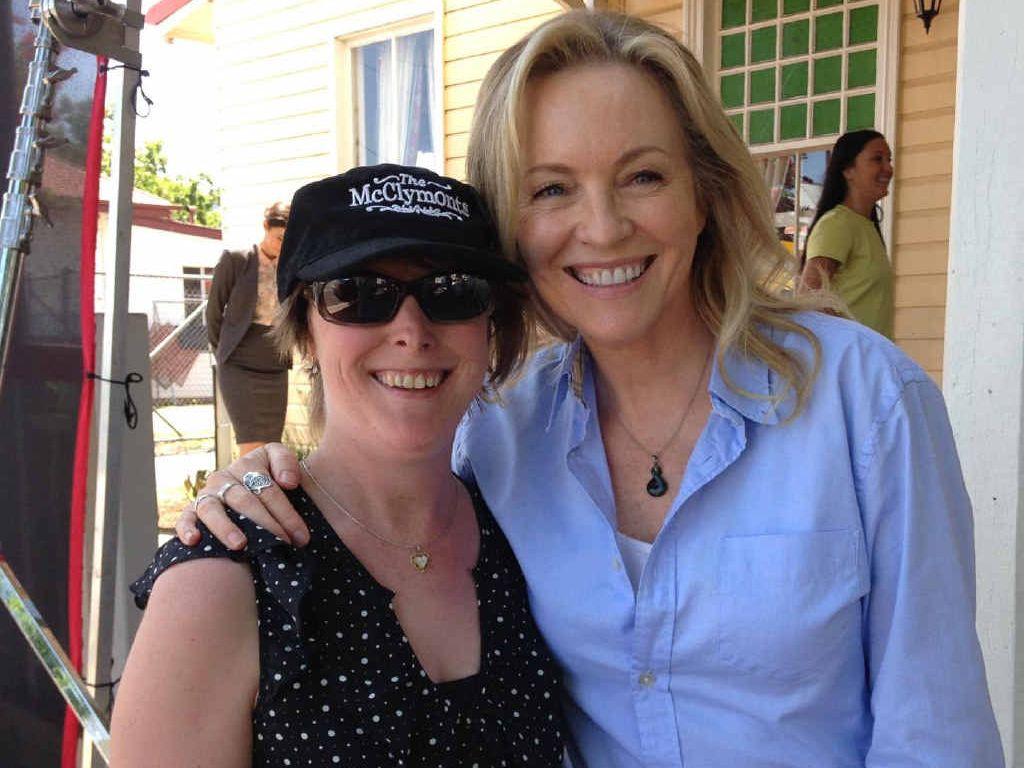 STARSTRUCK: Kathy McGregor met Gold Logie winner Rebecca Gibney on the set of Wanted at the Killarney Hotel yesterday.