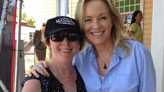 STARSTRUCK: Kathy McGregor met Gold Logie winner Rebecca Gibney on the set of Wanted at the Killarney Hotel yesterday.