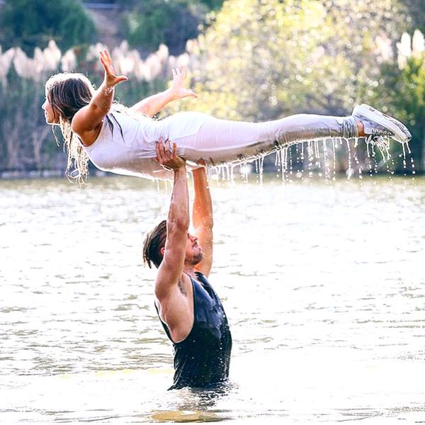 Bindi Irwin and Derek Hough rehearse the lift from Dirty Dancing for their routine on Dancing With The Stars.