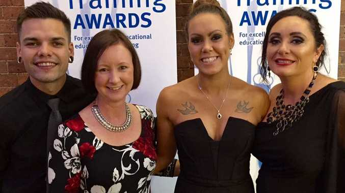 At the Queensland Training Awards are Trent Adams (Goolburri Aboriginal Health Advancement co practice manager), Yvette D'Ath MP (Attorney-General and Minister for Training and Skills); trainee Louarna Waters and BUSY at Work's Alison Welke.