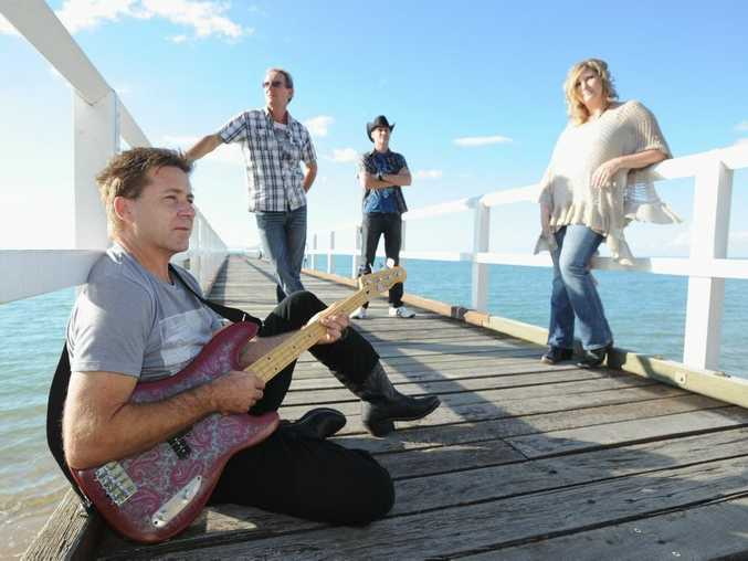STAR ON THE RISE:  Forbidden Road band members bassist Dean Harropbass, drummer Gary Hirst and singers Glenn Hand and Kellie Hand. Kellie was once a nervous singer.